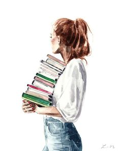 Library Girl With A Stack of Books Art Print by Laura Row. All prints are professionally printed, packaged, and shipped within 3 - 4 business days. Library Girl, Library Books, Illustration Art Dessin, Watercolor Illustration, Girl Illustrations, Figurative Kunst, Arte Sketchbook, Gifts For Readers, Book Lovers Gifts