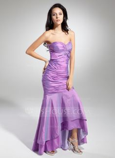 Trumpet/Mermaid Sweetheart Asymmetrical Ruffle Beading Zipper Up Strapless Sleeveless No Lilac Winter Spring Fall General Plus Taffeta Prom Dress
