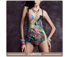 Joybestsy Groothandel Zebra Womens One Piece Vintage Swimwear