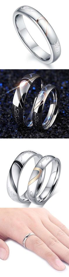"""Mens Womens Heart Titanium Steel Promise Ring """"Real Love"""" Couples Wedding Band Rings for Him and Her Women's Ring 4mm Width Size 9 #promiseringsformen"""