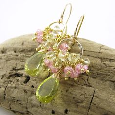 Pink and Green  Gemstone Cluster Earrings