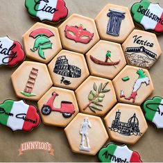 Royal Icing Cookies, Sugar Cookies, Italian Theme, Italian Cookies, Cookie Designs, Birthday Party Themes, Cookie Decorating, Bridal Shower, Italy