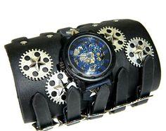 Часы-скелетоны черный браслет (механика)