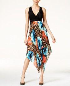 Thalia Sodi Printed Pleated Halter Dress, Only at Macy's