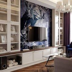 Built In Shelves Living Room, Living Room Wall Units, Living Room Tv Unit Designs, Living Room Interior, Home Living Room, Living Room Decor, Home Room Design, Home Interior Design, Salas Home Theater