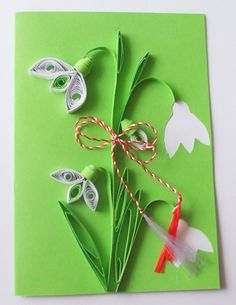 quilling card with snowdrop 8 Martie, Paper Quilling, Spring Crafts, Diy And Crafts, Little Things, Projects To Try, Jar, Christmas Ornaments, Holiday Decor