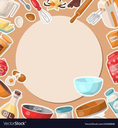 Baking cartoon tools round pattern kitchen vector image on VectorStock Cake Logo Design, Food Logo Design, Logo Food, Baking Wallpaper, Food Wallpaper, Adobe Illustrator, Logo Online Shop, Baking Logo, Kitchen Logo