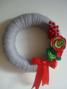 Holiday Gray Yarn Wreath With Handmade Roses -12 IN Wreath-Ready to Ship. $40.00, via Etsy.