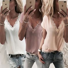 Plus Size Women Blouse and Tops Summer Top Casual Loose Sleeveless Solid Lace V-neck Chiffon Blouses Female Shirts Vest Blusa Chic Outfits, Fashion Outfits, Womens Fashion, Fashion Top, Female Fashion, Fashion Clothes, Fashion Edgy, Shirt Blouses, T Shirt