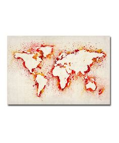 The world is a diverse, colorful place and this magnificent map shines. Featuring vibrant details designed by renowned artist Michael Tompsett, it's an easily hanged, geographically accurate piece that inspires onlookers to reimagine a world that seems so familiar.Available in multiple sizesGallery-wrapped canvas / wood frame