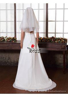 Sheer Short Wedding Veil 2 Tiers Tulle Simple Bridal Veil Elbow Length Style BV039 - Wedding Veil