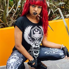 Horus Rising Womens Tee & Satan's Waitin' Leggings www.crmcclothing.co | We Ship Worldwide #summer #summerstreetwear #streetwear #alternative #altwear #alt #altlife #altlifestyle #streetstyle #style #blackwear #wearblack #skulls #blackgirlsrock #womens #short #fashionblog #fashionblogger #crmcclothing #esoteric #wings #eye #horus #wings #egypt #darkwear #blackmodel #eyeofhorus #leggings #leggingslove #loveleggings