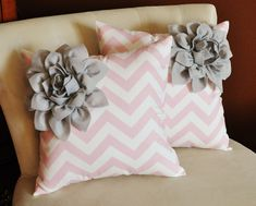 TWO Decorative Pillows Gray Corner Dahlia on Light Pink and White Zigzag Pillows. $66.00, via Etsy.