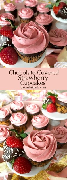 Strawberry buttercream loaded with real strawberries, yellow cake dipped in dark chocolate.  Decadent!