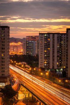 Sunset in Mei Foo, Lai Chi Kok, Kowloon, Hong Kong