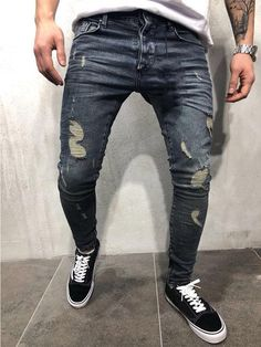 adf915fffdb KENNTRICE Men Jeans New Slim Fit Knee Holes Hip Hop Skinny Jeans Distressed  Ripped Stretch Streetwear Male Denim Trousers