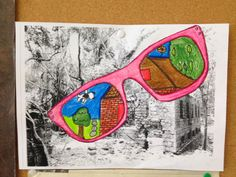 Reflect their holiday in self portrait with sunglasses Art Lessons For Kids, Art Lessons Elementary, High School Art, Middle School Art, Newspaper Art, 6th Grade Art, Ecole Art, School Art Projects, Art Lesson Plans