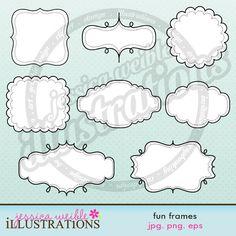 Fun Frames Cute Digital Clipart for Card Design by JWIllustrations. Teacher Fonts, Doodle Frames, Printable Designs, Printables, Free Printable, Cute Frames, Frame Clipart, Digital Pattern, Digital Scrapbooking