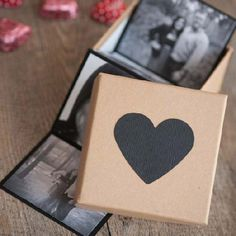 An easy Valentine's Day gift idea (perfect for dudes) using photos to create photo booth inspired photo strips packaged in a cute gift box!