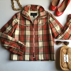 Burberry size up jacket Us size 8/ uk size 10. 21.5 inches long from shoulder to waist. 25 inches from shoulder to wrist. Bust 34. 100% wool. No flaws Burberry Jackets & Coats Blazers