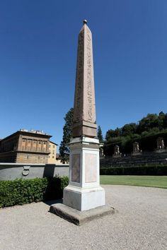The Obelisk at Boboli Gardens. This is the twin of the Obelisk at Dogali (Bob and Dog)  If you look closely you can see it appears to be held up by four small tortoises. They couldn't afford to shell out for a proper base.