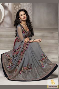 Purchase heavy work grey lycra designer wedding party saree online Indian collection for festival and marriage season 2015-2016. Buy bridal embroidery saree is overstated with multi threaded work on saree and blouse. #saree, #designersaree, #weddingwearsaree, #partywearsaree, #sareeonline, #sareewithblouse, #Indianbridalsaree, #bridaloutfits More : http://www.pavitraa.in/store/designer-collection/ Call / WhatsApp : +91-76982-34040  E-mail: info@pavitraa.in