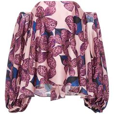 Kika Vargas Silk Satin Off-The-Shoulder Blouse (1.800 BRL) ❤ liked on Polyvore featuring tops, blouses, kika vargas, floral off the shoulder top, purple blouse, floral print top, long tops and floral print blouse