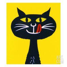 Black Cat Licking Lips Art Print by Pop Ink - CSA Images at Art.com