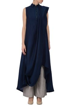 Dark teal & cream draped tunic with grey palazzos by Manish Malhotra - Shop at Aza