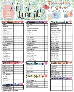 Love it, Like it, or Hate it?  Let your customers keep track of what they like/dislike with a Scentsy Sample Sheet.