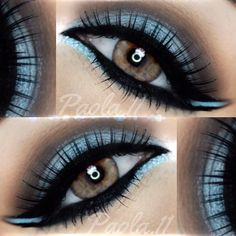 cool-toned ice #blue smokey #cat_eye, crease slightly defined with taupe, black winged eyeliner | colorful evening #makeup @ paola.11