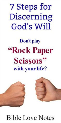 "If you ever feel like you're playing ""rock-paper-scissors"" with you life, These 7 steps can help you discern God's will. Discernment Quotes, Spiritual Discernment, Christian Devotions, Christian Faith, Book Of Galatians, The Gift Of Prophecy, Bible Topics, Find My Passion, Book Of Proverbs"