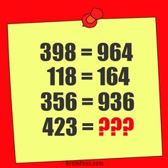 Brain teaser - Number And Math Puzzle - math riddle with answer - Guess the result of 423. 4 may mean something, 2 might mean something, 3 may mean something. Be the first to solve!