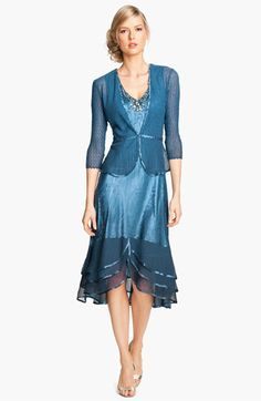 My mother would look amazing in this dress! Komarov Ruffle Hem Charmeuse Dress & Sheer Jacket available at #Nordstrom # Nordstromweddings