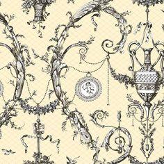York AH4756 Black & White Neoclassic Urn Toile Wallpaper