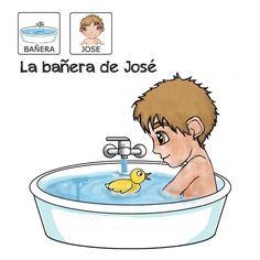 """""""La bañera de José"""" -  Proyecto sin ánimo de lucro que consiste en la creación, producción y difusión de cuentos infantiles adaptados a pictogramas para niños con autismo y otras necesidades especiales de aprendizaje, http://www.aprendicesvisuales.com/cuentos/"""