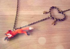 Woodland fox Necklace. Orange Fox Running with heart and stars. Heart, stars, forest necklace. Tangerine tango. €14.00, via Etsy.