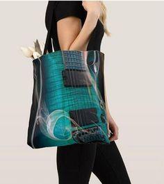 Tote bage Blue guitar print Tote bag/ yoga bag beach bag/ Blue Guitar, Yoga Bag, Printed Tote Bags, Gym Bag, Fashion, Bag, Moda, Fasion, Trendy Fashion