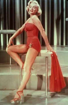 1b0091a91f Marilyn Monroe Red Satin-Rhinestones- Pinup Swimsuit Bathing Suit-Custom  Made to Size