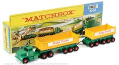 "Matchbox Kingsize Dodge Tractor Unit with Twin Tipper Trailers, ""Dodge Trucks"" Big Rig Trucks, Dodge Trucks, Toy Trucks, Custom Hot Wheels, Hot Wheels Cars, Corgi Toys, Garbage Truck, Matchbox Cars, Remote Control Cars"