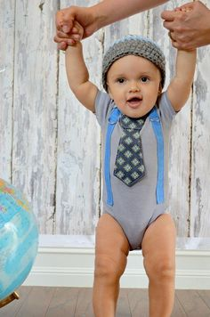 Baby Boy Birthday Gift Set Tie Bodysuit or Shirt & Suspenders with Crocheted Hat - Photo Prop Outfit, Mothers Day Fathers Day,Birthday Party