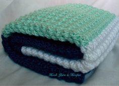 Turquoise Crochet Baby Boy Crib Blanket  Baby by HookYarnAndHooper