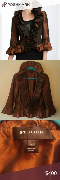 "ST. JOHN Evening Ruffled Taffeta Jacket Exquisite copper colored taffeta jacket. 4"" pleated ruffle at sleeve, around neck and down front. From 3 up to 5"" pleated ruffle from front to back of jacket. Be the talk of the town! Size 8. (Worn one time.) St. John Jackets & Coats"