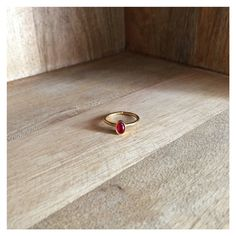 Simple or stacking brass ring with red stone by HurremSultanJewelry on Etsy