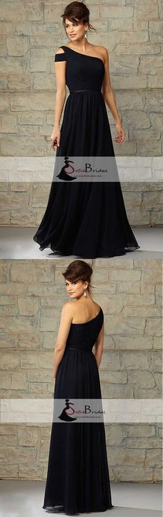 Cheap Formal Elegant Chiffon One Shoulder Floor-Length Navy Blue Bridesmaid Dresses, WG12 #Sofiebridal #bridesmaiddresses longbridesmaiddresses #weddings