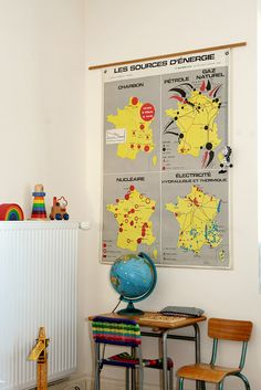 Map and vintage desk in a kid's room