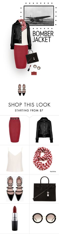 """""""Bomber Jacket"""" by gailermels ❤ liked on Polyvore featuring New Look, Ted Baker, Raey, Le Nom, Zara, Yves Saint Laurent, MAC Cosmetics, Miu Miu and Mundi"""