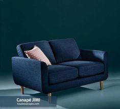 Avis canapé JIMI de la Redoute. Canapé bleu nuit pour les pièces lumineuses. Canapes, Little Houses, Love Seat, Furniture, Polyester, Home Decor, Studio, Blue Lounge