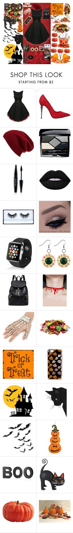 """""""Halloween"""" by zelephant ❤ liked on Polyvore featuring Le Silla, Halogen, Christian Dior, MAKE UP FOR EVER, Lime Crime, Huda Beauty, Apple, Accessorize, Casetify and Crate and Barrel"""