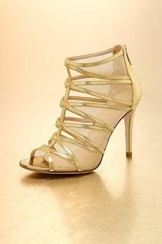 Sexy in Gold! (Boston Proper Mesh gladiator sandal #bostonproper)